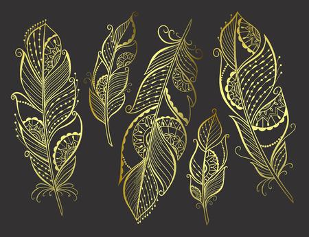 Main Zentangle dessiné plumes stylisées or pour votre conception, illustration vectorielle. Banque d'images - 47986799