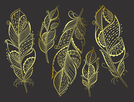 Zentangle hand drawn gold stylized feathers for your design, vector illustration.