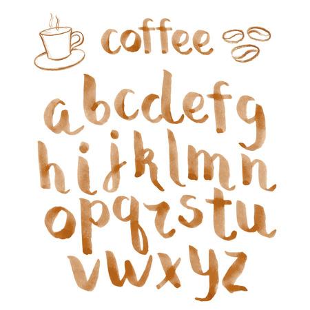 alfabeto graffiti: Acquerello disegnata a mano tipo di carattere per il vostro disegno caffè, illustrazione vettoriale. Vettoriali
