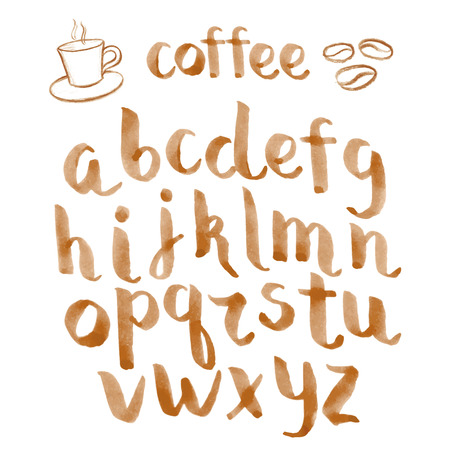 graffiti alphabet: Watercolor hand drawn font to your coffee design, vector illustration. Illustration