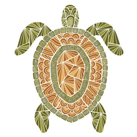 様式化されたタートル スタイルの zentangle。あなたの設計のための海のコレクション。  イラスト・ベクター素材