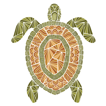 Stylized turtle style zentangle. Sea collection for your design. 版權商用圖片 - 48963430