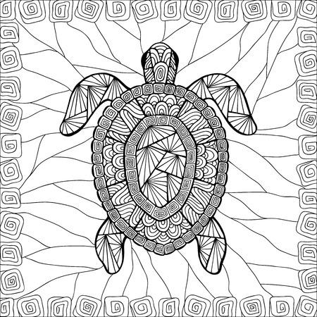 tortuga caricatura: Estilizada zentangle estilo tortuga. Puede ser utilizado como colorante en su proyecto.