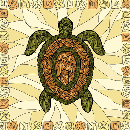 Stylized turtle style zentangle on the colored abstract background. Stock Illustratie