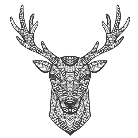 isolated animal: Hand-drawn portrait of a deer in the style of zentangle. Vector illustration.