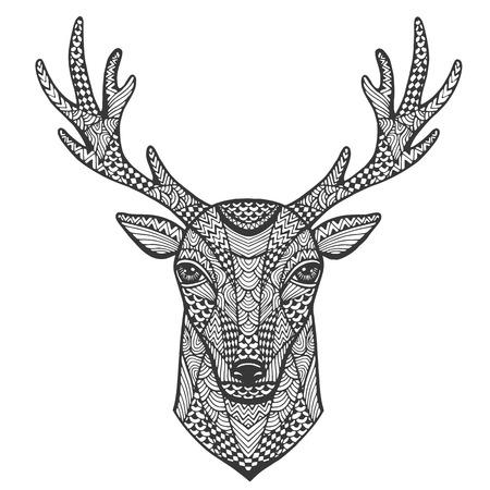 Hand getekende portret van een hert in de stijl van zentangle. Vector illustratie.