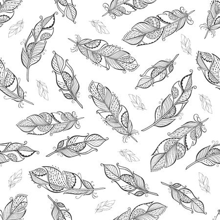 lace pattern: Vintage ethnic boho feathers seamless pattern for your  fabric print.
