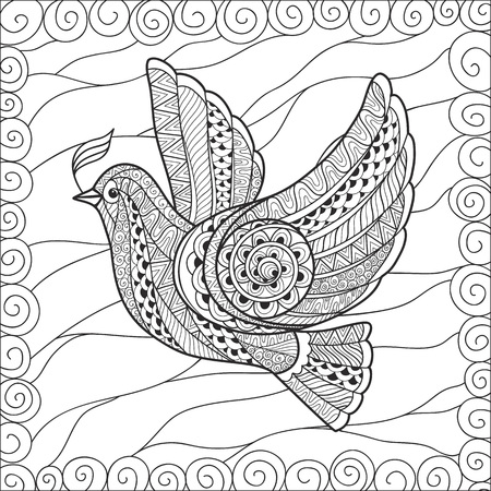 Zentangle stylized floral Pigeon for Peace Day. Hand Drawn Dove of peace vector illustration. Can be used as coloring in your project.