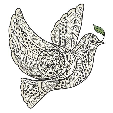 simbolo paz: Paloma estilizada con oliva zentangle estilo rama sobre un fondo blanco.
