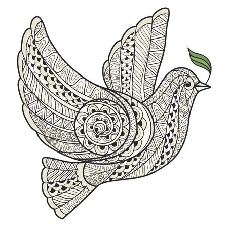 Stylized dove with olive branch style zentangle on a white background.