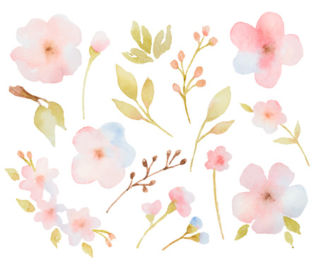 Watercolor floral set of branches of leaves and flowers. Perfect for wedding invitations, greeting cards and other design.