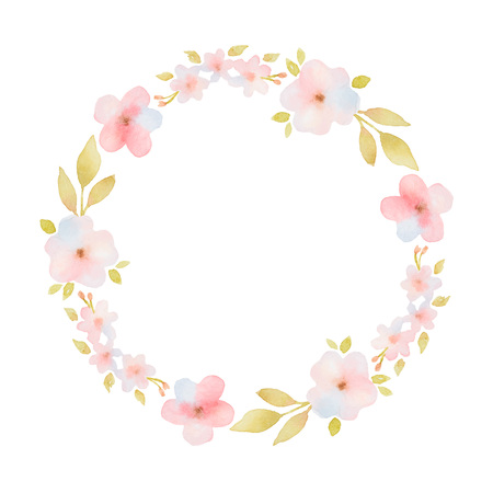 Watercolor round frame with delicate pink flowers and leaves.