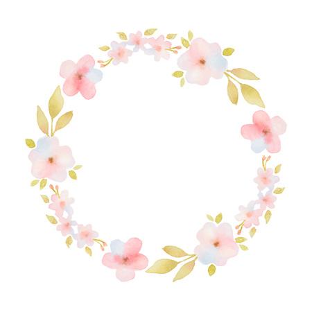 marcos redondos: Marco redondo de la acuarela con delicadas flores rosas y hojas.