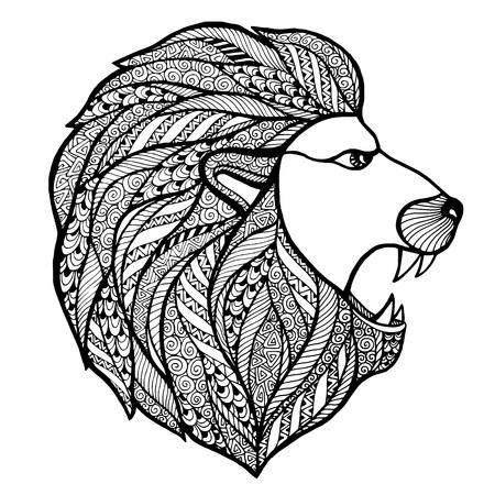 roaring: Head roaring lion style  . Vector illustration.