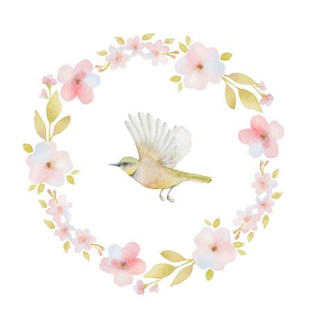 Aquarell runder Rahmen von Frühlingsblumen und ein Vogel. Frühling oder Sommer-Design für die Einladung, Hochzeit oder Grußkarten. Standard-Bild - 49358934
