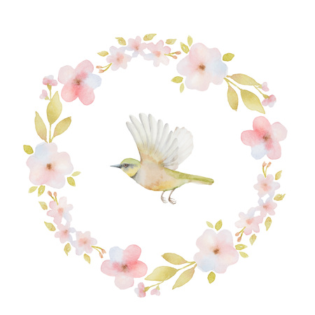hand painted: Watercolor round frame of spring flowers and a bird. Spring or summer design for invitation, wedding or greeting cards.