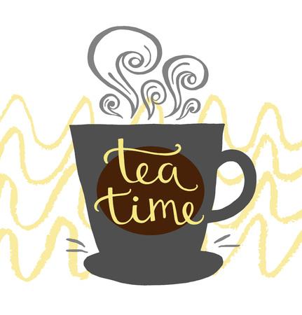 Hand drawn letter time for tea design postcards, menus, templates. Vector illustration.
