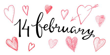 Valentines hand lettering 14 february for design of cards, invitations, template, labels. Calligraphic text on the theme of love, vector illustration. Illustration