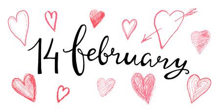 Valentines Hand 14. Februar Für Die Gestaltung Von Karten Schriftzug ...