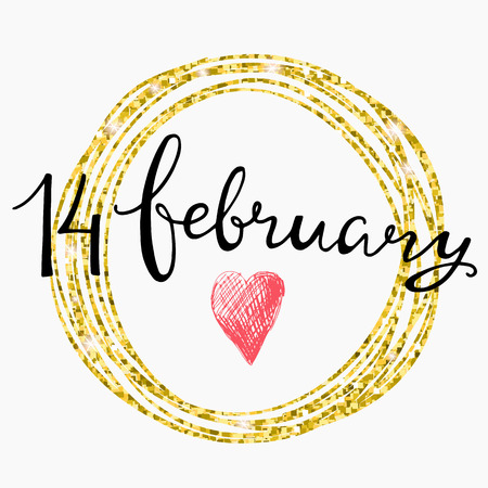 14 of february: Valentines Day Card lettering 14 february in a circular gold frame. Vector illustration.
