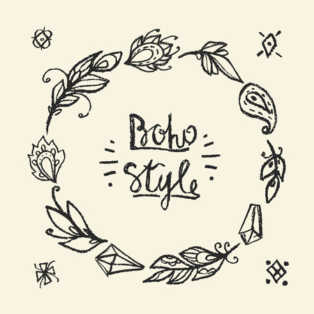 Frame round chalked in boho style. Fashion hippie elements for your design.