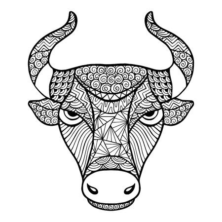 Chef Buffalo zentangle de style, vecteur main isolé sur un fond blanc pour votre conception. Collection des animaux. Vecteurs