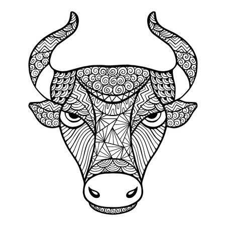 predators: Head Buffalo style zentangle, handmade vector isolated on a white background for your design. Collection of animals.