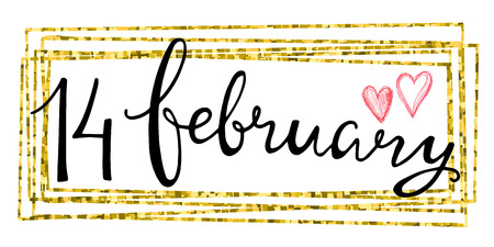14 february: Valentines Day Card lettering 14 february in a rectangular gold frame. Vector illustration.
