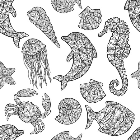 aquaculture: Seamless pattern on the marine theme vector illustration.