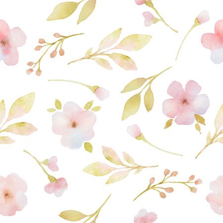 fleur cerisier: fleurs branches et feuilles roses aquarelle seamless pattern. Peint à la main motif sur un fond blanc. Banque d'images