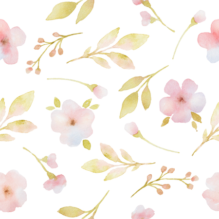 Pink flowers branches and leaves watercolor seamless pattern. Hand painted pattern on a white background.