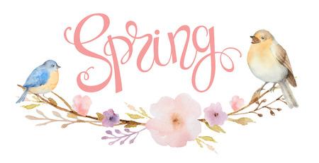 손으로 그린 글자 봄, 꽃, 나뭇 가지와 새의 무리. 수채화 그림. 결혼식 초대장, 인사말 카드, 카드 디자인.