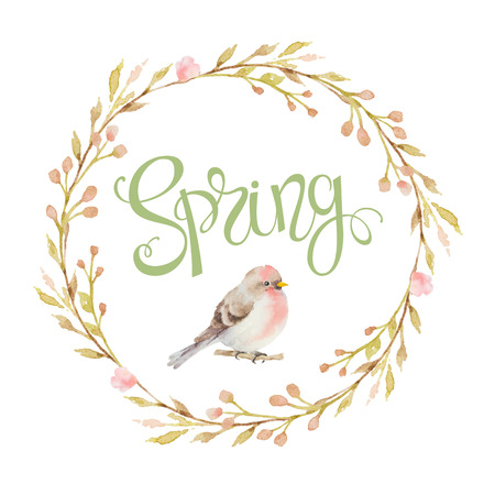 romantic flowers: Bird in a circular frame of the branches, flowers and inscriptions spring. Watercolor illustration. Design for wedding invitations, greeting cards, cards.