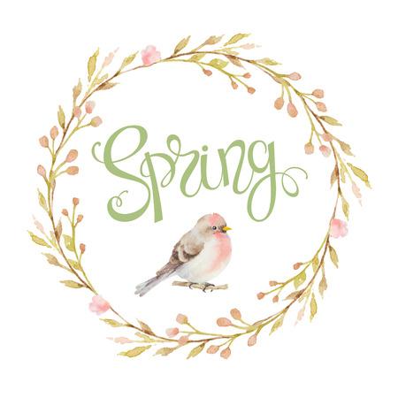 bouquet fleur: Oiseau dans un cadre circulaire des branches, des fleurs et des inscriptions au printemps. Illustration d'aquarelle. Conception pour des invitations de mariage, cartes de voeux, cartes.