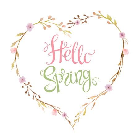 hello heart: Hand drawn lettering Hello Spring in the shape of a heart of flowers, branches and leaves. Watercolor illustration. Design for wedding invitations, greeting cards, cards. Stock Photo