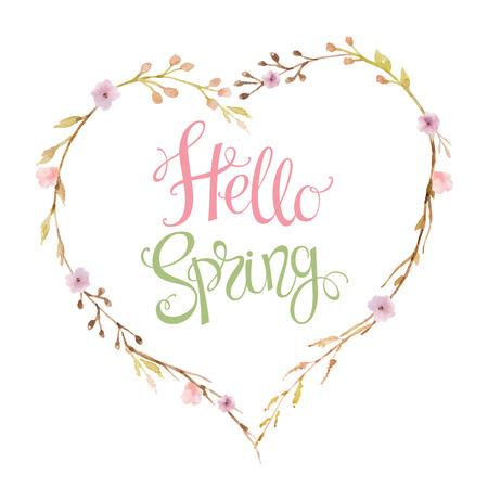 Hand getrokken letters Hallo Lente in de vorm van een hart van bloemen, takken en bladeren. Illustratie van de waterverf. Ontwerp voor bruiloft uitnodigingen, wenskaarten, kaarten.