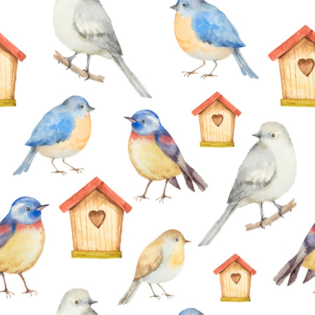 welcome home: Birds and birdhouses watercolor seamless pattern. Hand painted pattern on a white background. Stock Photo