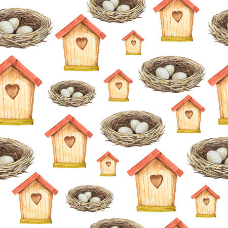 Birdhouse and nest watercolor seamless pattern. Hand painted illustration. Stock Photo