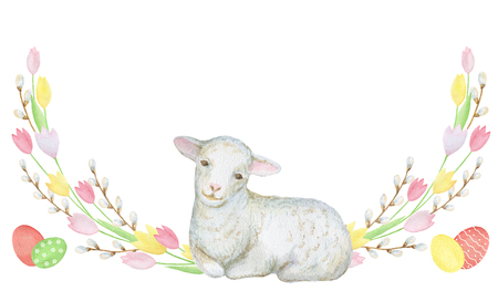 lamb: Watercolor Easter wreath of flowers tulips, branches of willow, eggs and sheep. Design element for greeting cards, note cards and invitations.