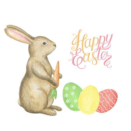 Happy Easter watercolor rabbit, eggs and a letter. Template for greeting cards and invitations.