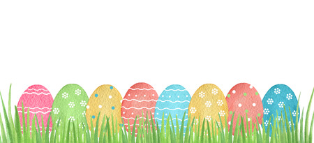 paschal: Watercolor Easter colored eggs and green grass on white background. Design element for greeting cards, note cards and invitations.