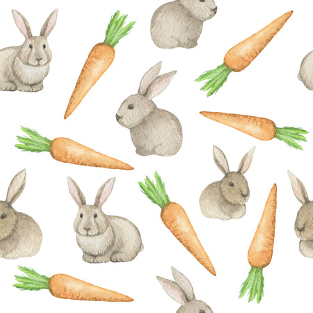 downy: Watercolor seamless pattern with rabbits and carrots on a white background. Stock Photo