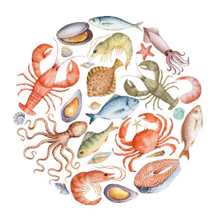 水彩画は、ロブスター、カニ、魚、イカ、タコ、エビ、メニューやデザインのための殻から魚介類のセット。