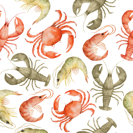 prawns: Watercolor seamless pattern with crayfish, prawns and crabs on a white background.