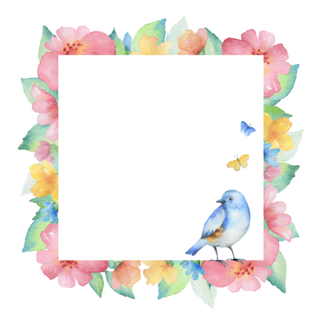 Watercolor square frame of colorful flowers,butterflies and birds. Ideal for invitations, cards, greetings, wedding design. Perfect for spring and summer design.