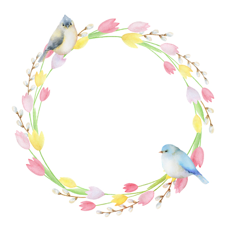 circle flower: Watercolor round frame of flowers and birds. Ideal for invitations, cards, greetings, wedding design. Perfect for spring and summer design.