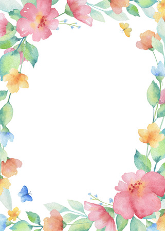 Watercolor rectangular frame of colorful flowers. Ideal for invitations, cards, greetings, wedding design. Perfect for spring and summer design. Foto de archivo