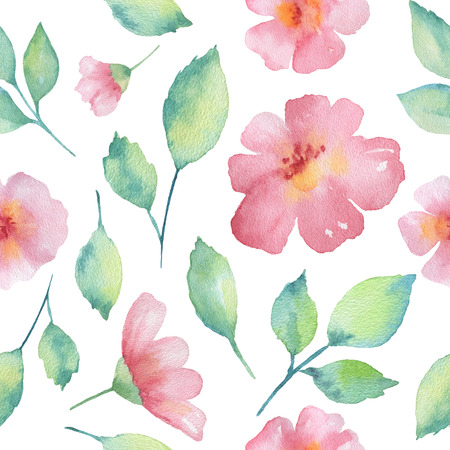 flor de cerezo: Pink flowers branches and leaves watercolor seamless pattern. Hand painted pattern on a white background.