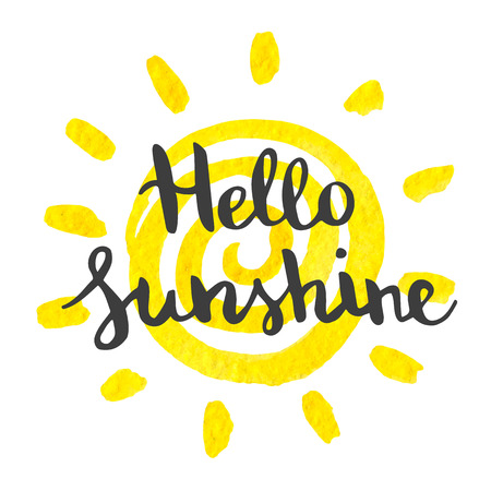 art piece: Hand lettering art piece hello sunshine on the watercolor background of yellow sun. Vector element for design postcards, invitations and other.