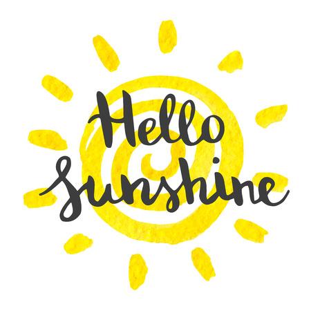 lettering a mano pezzo d'arte ciao sole sullo sfondo acquerello di sole giallo. Elemento di vettore per le cartoline di progettazione, inviti e altro.